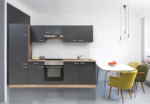 Respekta Küchenzeile 270 cm Buche Grau, mit Geräten, Glaskeramikkochfeld