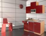 Respekta Küchenzeile 150 cm Buche Rot, mit Geräten, Edelstahlherdplatten, Mikrowelle