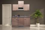 Respekta Küchenzeile 150 cm Buche Buche, mit Geräten, Glaskeramikkochfeld, Mikrowelle