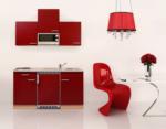 Respekta Küchenzeile 150 cm Buche Rot, mit Geräten, Glaskeramikkochfeld, Mikrowelle