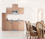 Respekta Küchenzeile 180 cm Buche Buche, mit Geräten, Edelstahlherdplatten, Mikrowelle