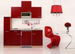 Respekta Küchenzeile 180 cm Buche Rot, mit Geräten, Edelstahlherdplatten, Mikrowelle