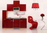 Respekta Küchenzeile 180 cm Buche Rot, mit Geräten, Glaskeramikkochfeld, Mikrowelle