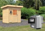 Karibu Saunahaus »Jorgen« 38 mm, Bio-Ofen 9 kW externe Strg. mit Pultdach