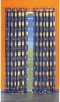 """Vorhang """"Sonne/Mond/Sterne"""" mit Schlaufen und Gardinenband, ca. 140 x 175 cm, blau-gelb"""