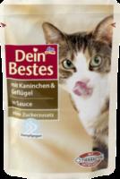 Nassfutter für Katzen mit Kaninchen & Geflügel, in Sauce