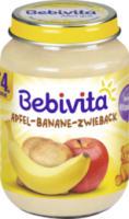 Früchte Apfel-Banane-Zwieback nach dem 4. Monat