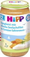 Kindermenü Spaghetti mit Alaska-Seelachsfilet in Gemüse-Sahnesauce ab 12. Monat