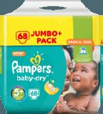 Windeln Baby-Dry, Größe 5+ Junior plus, 13-25 kg, Jumbo+ Pack, 68 St