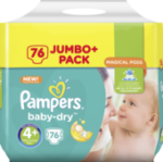 Windeln Baby-Dry, Größe 4+ Maxi plus, 9-18 kg, Jumbo+ Pack
