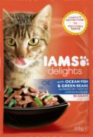 Nassfutter für Katzen Adult Delights, Seefisch & Grüne Bohnen in Sauce