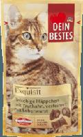 Exquisit Snack für Katzen, fleischige Häppchen mit Truthahn, verfeinert mit Leberwurst