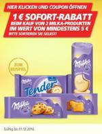 1 EUR Sofortrabatt beim Kauf von 2 Milka Produkten im Wert von mind. 5 EUR!