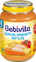 Babymenü Gemüse-Spaghetti mit Pute nach dem 4. Monat