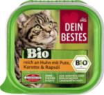 Bio Nassfutter für Katzen, reich an Huhn mit Pute, Karotte und Rapsöl