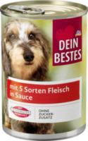 Nassfutter für Hunde mit 5 Sorten Fleisch, in Sauce