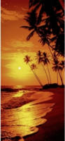 Türdecor Sonnenuntergang am Palmenstrand