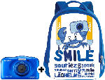 Digitalkameras - Nikon Coolpix W 100 + Rucksack Kompaktkamera Blau, 13.2 Megapixel, 3x opt. Zoom, TFT