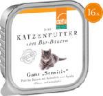 Nassfutter für Katzen, Gans, Sensitive, getreidefrei, 16x100g