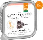 Nassfutter für Katzen, Lachs, Sensitive, getreidefrei, 16x100g