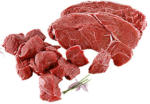 Frischer Rinderbraten oder Gulasch aus dem Nacken, ohne Knochen,   je 1 kg