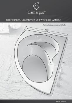Badewannen und Duschtassen - techn. Zeichnungen