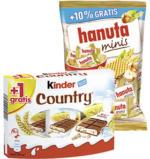 kinder Country 9er + 1 Riegel gratis oder hanuta minis + 10 % gratis, jede 235-g-Packung/jeder 200-g-Beutel