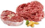 Frisches Rinderhackfleisch oder Rinderbeinscheibe, je 1 kg