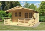 Karibu Gartenhaus Hardenberg 1 mit Vordach und Terrasse, naturbelassen
