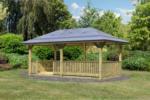 Karibu Holzpavillon Bergen 2 im Set mit Brüstung und Fußboden