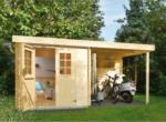 Gartenhaus Blockbohlen SYLT Lounge Flachdach, 19 mm, 360x200 cm, mit Fußboden