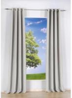 Vorhang Uni, mit Ösen, aus Baumwolle, ca. 140 x 240 cm, off white