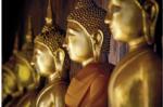 Glasbild 90x60 cm Golden buddhas