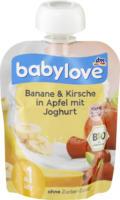 babylove Quetschbeutel  Banane & Kirsche in Apfel mit Joghurt ab 1 Jahr