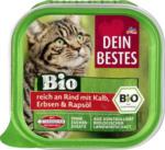Bio Nassfutter für Katzen, reich an Rind mit Kalb, Erbsen und Rapsöl