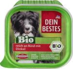 Bio Nassfutter für Hunde, reich an Rind mit Dinkel