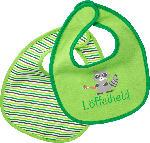babylove Lätzchen aus Stoff, Löffelheld (gestreift / grün)