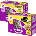 Whiskas  Katzen-Nassnahrung versch. Sorten, jede 12 x 100 g = 1200-g/12x85-g = 1020-g-Multi-Packung
