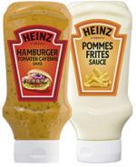 Heinz Hamburger Tomaten Cayenne, Pommes Frites, American Burger Sauce oder American Mustard jede 400-ml-Flasche