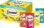 Dreamies Snackbox für Katzen mit Huhn, Käse, Lachs, Rind, Multipack 4x30g