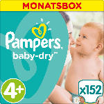 Pampers Windeln Baby-Dry Größe 4+ Maxi Plus, 9-18kg, MonatsBox