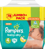 Pampers Windeln Baby-Dry, Größe 4 Maxi, 8-16 kg, Jumbo+ Pack