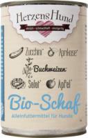 HerzensHund Nassfutter für Hunde, Bio Schaf mit Bio Zucchini, Bio Buchweizen, Bio Salat, Bio Apfel, Bio Aprikose, Bio Leinöl