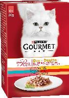 GOURMET Nassfutter für Katzen, Mon Petit Duo Fleisch & Fisch, 6x50g