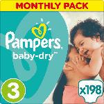 Pampers Windeln Baby-Dry Größe 3 Midi, 5-9kg, MonatsBox