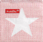 Profissimo Cocktailservietten Weihnachten 25x25 Stern auf kariertem Hintergrund rosa