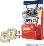 HAPPY CAT adult indoor 300 g Beutel + 2 x 100 g Duo PATE gratis