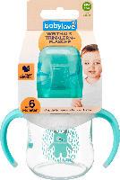 babylove Weithals-Trinklernflasche mit Soft-Trinkschnabel aus Silikon, ab 6 Monaten, 150ml, Mint / Monster