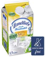 Landliebe Landmilch 3,8 % Fett,  jede 1,5-Liter-Packung