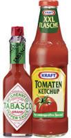 Tabasco 60 ml oder Kraft Tomatenketchup XXL 889 ml, versch. Sorten, jede Flasche